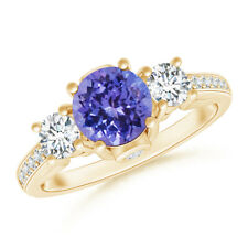 Classic Round Tanzanite & Diamond Three Stone Ring 14K Yellow Gold