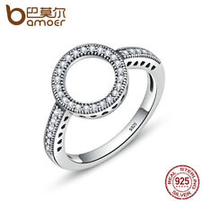 BAMOER 100% 925 Sterling Silver Forever Clear CZ Circle Round Finger Rings Gift
