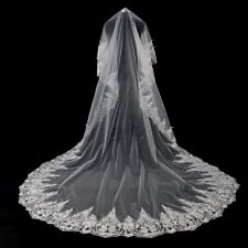 Cathedral White/Ivory Wedding Veils 3M Lace Edge Bridal Veil Accessories 069