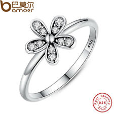 BAMOER Elegant 925 Sterling Silver Dazzling Daisy Flower Ring Clear CZ Jewelry