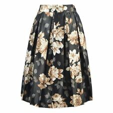 Vintage Floral Pattern Knee-length Casual Wear Solid Skirt for Women ABN877
