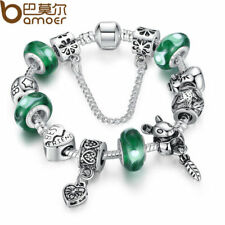 BAMOER Silver Green Bead Animal Best Friend Charm Bracelet with Safety Chain