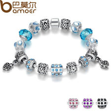 BAMOER Silver Crystal Charm Bracelet Blue Murano Glass Beads Jewelry for Women