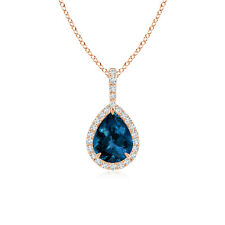 London Blue Topaz Teardrop Pendant with Diamond Halo 14K Rose Gold