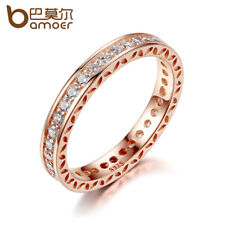 BAMOER Classic Wedding Finger Ring Rose Gold Color Rings with Zircon 3mm Width