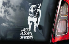 Jack Russell on Board - Car Window Sticker - Russel Terrier Dog Sign Decal - V01