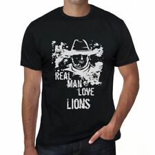 Lions, Real Men Love Lions Mens T shirt Black Birthday Gift 00538