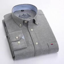 Grey Color Cotton Material Turn-down Collar Casual Slim Fit Shirt For Men