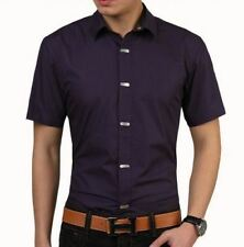 Men Solid Color Short Sleeve Turn-down Collar Casual Slim Fit Shirt