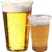 50 Disposable Clear Strong Plastic Pint / Half Pint Beer Glasses Cups Drinking