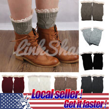 US HOT Womens Crochet Knit Knitted Lace Leg Warmers Cuffs Toppers Boot Socks po