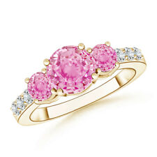 Three Stone Round Pink Sapphire Ring with Diamond 14K Yellow Gold
