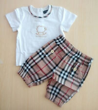 Baby Girl Clothes Set Infant Toddler Kids T-shirt and Check Shorts Summer Outfit