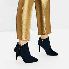 ZARA Blue Leather High Heel Ankle Boots W Pompoms Woman Authentic BNWT 2105/201