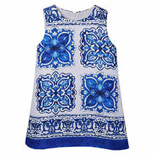 Girl Kids Sleeveless Floral Print Princess Party Holiday Wedding Pageant Dress