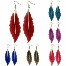 Women Lady Charm Ethnic Style Long Leaf Shape Drop Dangle Hook Earrings Fashion