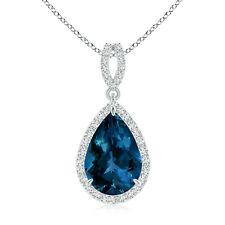 Vintage Style Pear London Blue Topaz Halo Pendant Necklace White Gold