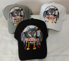 Native Pride Wolf Hat , Embroidered Adjustable Ball Cap Hat