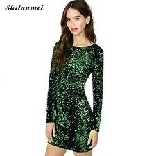 Green Sequin Dress Women Sexy Club Dresses 2017 Slim Fit Backless Bodycon Party