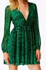NWT MICHAEL KORS Womens Red Green Printed Ruched V-Neck Casual Dress $160