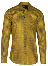 Dolce & Gabbana Men's Gold Square Pattern Button Down Dress Shirt