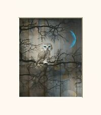Rustic Brown Blue Owl On Tree Branch Moon Home Decor Wall Art Matted Picture