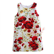 Toddler Girl Sleeveless Flower Daisy Print Party Princess Holiday Pageant Dress