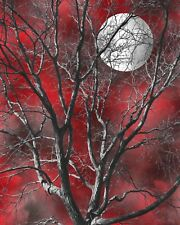 Tree Moon Decor, Red Wall Art Picture, Red Gray Home Decor Matted Picture