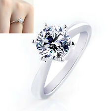 Wholesale Bride 925 Solid Sterling Silver Ring Women Beautiful Gift Size 5-8