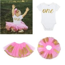 Infant Baby Girls ONE Year First Birthday Bodysuit Romper Tutu Skirt Outfits NEW