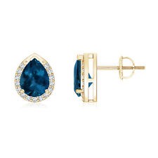 Pear Shaped London Blue Topaz Diamond Stud Earrings 14k Yellow Gold
