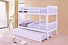LAVISH LYDIA SOLID WOODEN 3'FT SINGLE BUNK BED IN WHITE FINISH +TRUNDLE OPTION