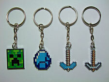 Minecraft Creeper Diamond Iron Pickaxe Diamond Pickaxe Keyring Keychain gr8 gift