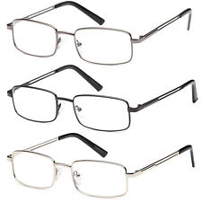 GAMMA RAY 3 Pairs of  Stainless Steel Reading Glasses Readers w/ Magnification