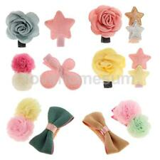 2Pcs 6Styles Girl Infant Floral Star Decor Hair Clip Bows Alligator Accessories