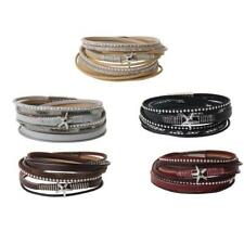 Men Women Star Charm Leather Wrap Wristband Bracelet Bangle Magnetic Clasp