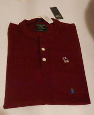 NWT Abercrombie & Fitch Moose Pique Henley T-Shirt Short Sleeve Burgundy M or L