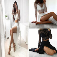 Fashion Women Sexy Lace Long Sleeve Tops Blouse Slim Thin Perspective Lace Shirt
