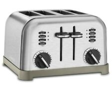 Stainless Steel Classic 4 Slice Bread Toaster Wide Toasting Slots Bagel Machine