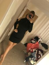 #989 Size 10 Boohoo Black Turtle Neck Cut Out Bodycon Tight Short Mini Dress New