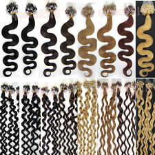 """20"""" Wavy Easy Loop Micro Rings Tipped Remy Human Hair Extensions 100s"""