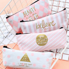 Pink Pencil Case Pen Box School Stationery Cosmetic Makeup Pouch Zipper Bag girl