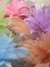 Wonderful Elegant Chiffon Flower and Feather Fascinator on Comb