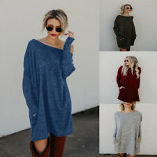 Sweater Jumper Shirt Tops Dress Women Winter Casual Loose Knitted Party Oversize