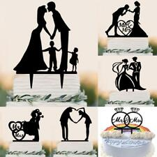 Sweet Wedding Engagement Mr Mrs Bride Groom Acrylic Silhouette Cake Topper Decor