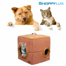 Pet House Dog Cat Winter Cube Bed Enclosed Windproof Warm Cushion Soft Kennel