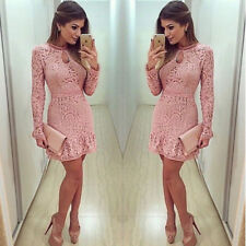 Short Mini Dress Party Evening Cocktail Fashoin Women's Summer Lace Long Sleeve