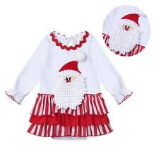 Christmas Newborn Baby Girls 3D Santa Claus Ruffled Dress Romper Costume Outfits