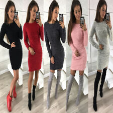 Short Mini Dress Evening Party Cocktail Fashion Women Long Sleeve Woollen