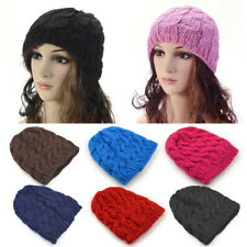 Fashion Lady Women Knit Winter Warm Crochet Hat Braided Baggy Beret Beanie Cap